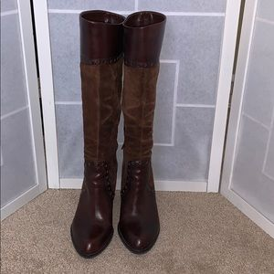 Franco Sarto Brown heeled boots leather/suede